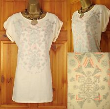 NEW EXCHAINSTORE LADIES PEACH REVERSE PRINT COTTON SUMMER TUNIC TOP SIZE 10-20