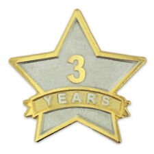 PinMart's 3 Year Service Award Star Corporate Recognition Dual Plated Lapel Pin