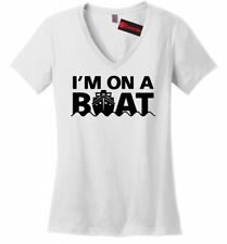 I'm On A Boat Funny Soft Ladies V-Neck T Shirt Boating Sailor Cruise Trip Tee Z5