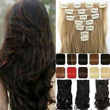 US FAST Clip in on Hair Extensions 8 Pieces Full Head Long Real As Human Hair s4