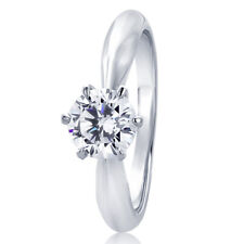 7MM Sterling Silver 0.85ct CZ 6 prong Classic Solitaire Wedding Engagement Ring