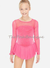 NWT Figure Skating Dance Dress Ice Pink Leotard Justice Girl 6 8 10 12 14 16 18