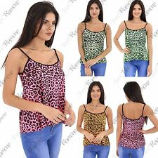 New Womens Neon Leopard Animal Print Camisole Summer Cami Vest Strappy Flare Top