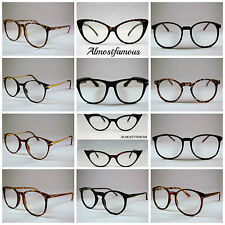 Retro Geek Vintage Cateye New Nerd Frame Fashion Black Round clear lense glasses