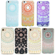 1Pcs New Hot Colorful Clear Floral Case For iPhone Soft Silicone Mandala