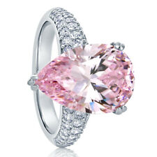 Women 15.5MM Sterling Silver Pear Cut 5.75ct Light Pink CZ Cocktail Ring Band