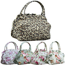 Women Canvas Floral Flower Leopard Print Zipper Shopping Bowknot Handbag Bags