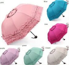 Lace Lacework Floding Pagoda Umbrella Sun Rain Anti UV Princess Floding Wedding