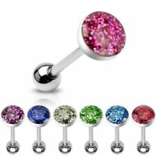 Tongue Piercing GLITTER made of surgical steel 316L Barbell Stainless