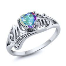 0.96 Ct Heart Shape Mercury Mist Mystic Topaz White Topaz 18K White Gold Ring