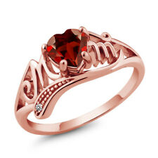 0.91 Ct Heart Shape Red Garnet White Diamond 18K Rose Gold Plated Silver Ring