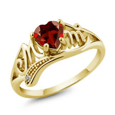 0.91 Ct Heart Shape Red Garnet White Diamond 18K Yellow Gold Plated Silver Ring