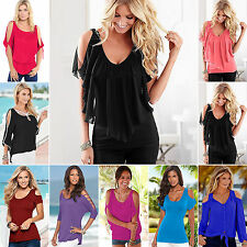 Plus Size Womens Sexy Cold Shoulder Tunic T-shirt Blouse Summer Casual Top S-5XL