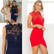 Women's Sexy Lace Floral Hollow Bodycon Irregular Hem Cocktail Party Mini Dress