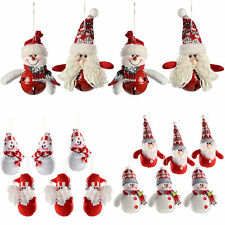 Santa Snowman Hanging Christmas Tree Christmas Decorations Red/Grey Set of 4
