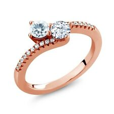 0.79 Ct Aquamarine White Topaz Two Stone 18K Rose Gold Plated Silver Ring