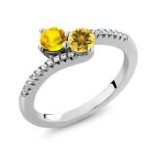 0.86 Ct Round Yellow Sapphire Yellow Citrine Two Stone 925 Sterling Silver Ring