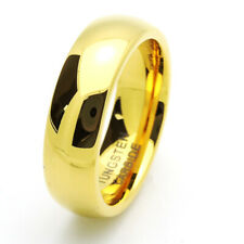 7MM Comfort Fit Tungsten Carbide Wedding Band High Polished Domed Gold Tone Ring