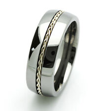 8MM Comfort Fit Tungsten Carbide Wedding Band Braided Silver Inlay Ring