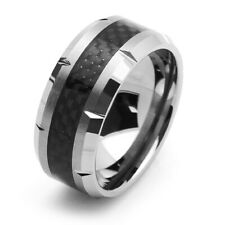 10MM Comfort Fit Tungsten Carbide Wedding Band Carbon Fiber Inlaid Ring