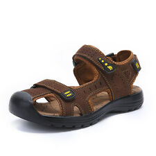 Mens Big Size Genuine Leather Outdoor Sandals Breathable Walk Casual Beach Shoes