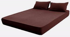 PLAIN FITTED SHEETS Linen Poly Cotton Bedding Bed Fitted Sheet BROWN CHOC,2 SIZE