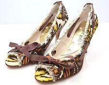 Ginger Goff Barga Multi Color Fabric Heel Yellow Brown Brown Coral Shoes