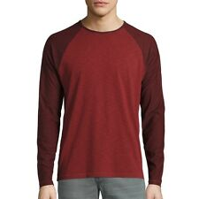 John Varvatos Star USA Men's Long Sleeve Raglan Baseball Crewneck Shirt Red NWT