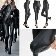 Lady Black High Waist Faux Leather Stretchy Fit Skinny Leggings Punk Tight Pants