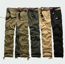 Mens Cargo Straight Leg Casual Loose Military Outdoor Hiking Trousers Army Pants
