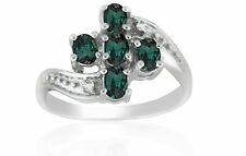 Natural Alexandrite Color Change Diamond 14K White Gold Ring With Certificate