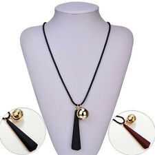 Fashion Wood Pendant Necklaces New 1Pcs Sweater Jewelry Necklace For Women Alloy