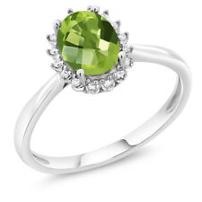10K White Gold 0.85 Ct Oval Checkerboard Peridot Engagement Ring with Diamonds