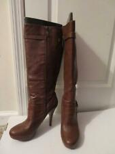 WOMENS GUESS BROWN LEATHER KNEE HIGH BOOTS - SIZE 10