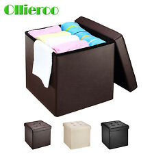 Faux Leather Folding Storage Ottoman Bench Seat Foot Rest Stool Coffee Table