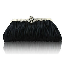 Women's Satin Bridal Handbag Makeup Wedding Party Prom Clutch Purse Evening Bag