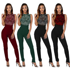 New Sexy Women Black Shimmering Rhinestone Bodice party Jumpsuit Rompers Summer