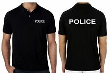 Mens Work Wear Uniform Polo T-shirts Short Sleeve POLICE Printed Text Shirt