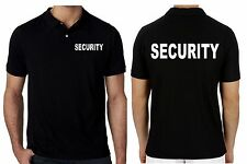 Mens Work Wear Uniform Polo T-shirts Short Sleeve SECURITY Printed Text Shirt