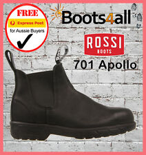 NEW ROSSI Work Boots Steel Toe Black Slip On Safety Apollo 701 ON SALE