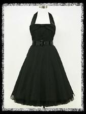 dress190 Black Halter 50s Rockabilly Party Cocktail Prom Ball Gown Dress UK 8-26
