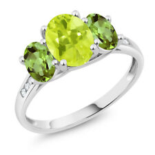 10K White Gold 2.10 Ct Oval Yellow Lemon Quartz Green Peridot 3-Stone Ring