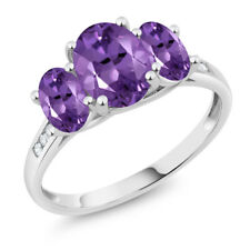 10K White Gold 1.70 Ct Oval Purple Amethyst 3-Stone Ring
