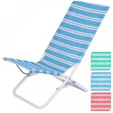 Stripe High Back Folding Camping Deck Chair Fishing Picnic Beach Garden Seat