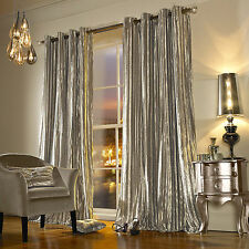 Kylie Minogue Iliana Ring Top Beige Curtains - Ready Made Velvet Curtain Pair