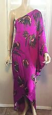 HALSTON HERITAGE SILK LONG ONE SHOULDER BIRDS OF PARADISE DRESS SZ.10 $595.00