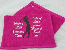 PERSONALISED LADIES GOLF TOWEL EMBROIDERED WITH ANY NAME, MESSAGE,TEXT & GOLFER