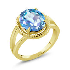 3.60 Ct Oval Millennium Blue Mystic Quartz 18K Yellow Gold Plated Silver Ring