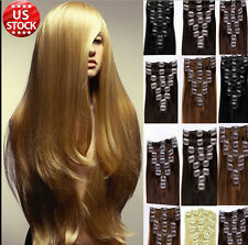 US STOCK 7PCS Clip in Full Head 100% Remy Human Hair Human Hair Extensions