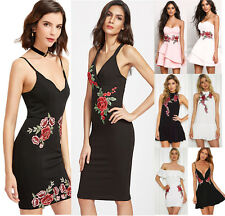 Womens Party Cocktail Holiday Dress Ladies Embroidery Floral Summer Skater Dress